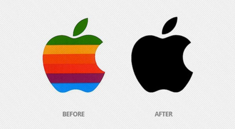 apple logo before and after